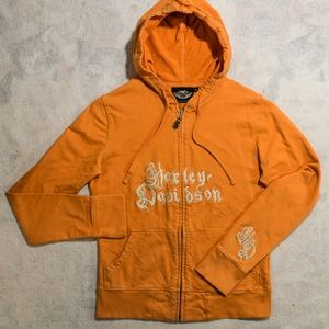 Harley-Davidson Embroidered Orange Zip-Up Hoodie